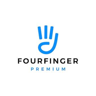 4本指の手のジェスチャーのロゴのテンプレート