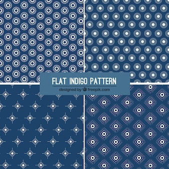Four flat indigo patterns