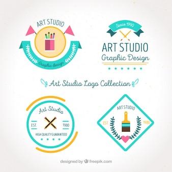 Four flat style art logos