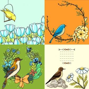 鳥と四つの花のカード