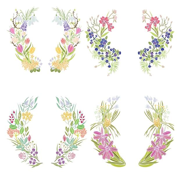 Четыре цветочных рамы Бесплатные векторы