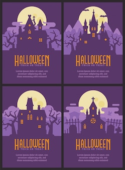 Four flyers with halloween houses