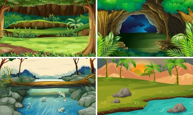 木と川のある四つの森の風景