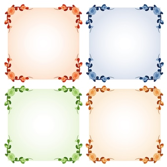 Four frame templates with colorful flowers