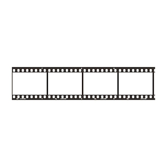 Four frames of dia positive 35mm film snip, simple black icon isolated on white