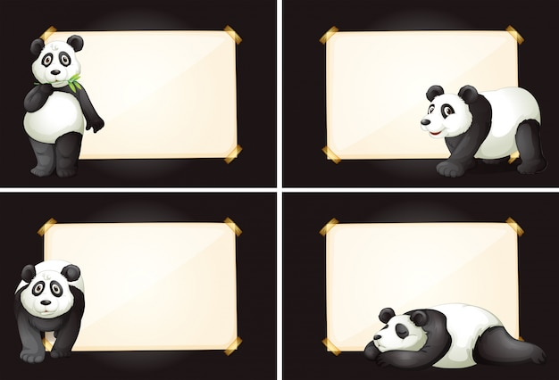 Four frames with cute panda bears
