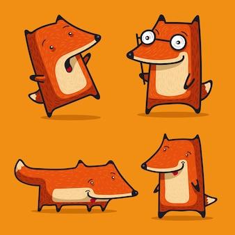 Четыре забавных лисички для развлечения друзей, знакомых и коллег.