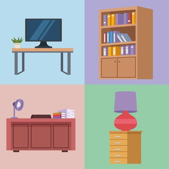 4つの家具オフィスアイコン