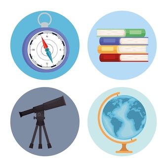 Four geography supplies icons