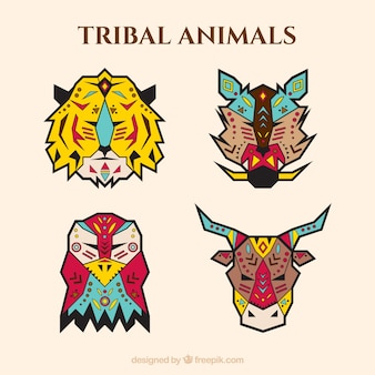 Four geometric animals in ethnic style