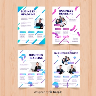 Four geometric business flyer template