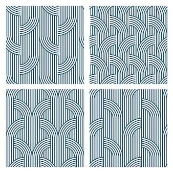 Four geometric striped seamless patterns