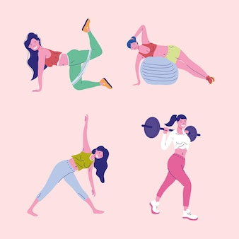 Four girls fitness practicing sports
