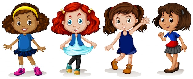 Four girls with happy face illustration