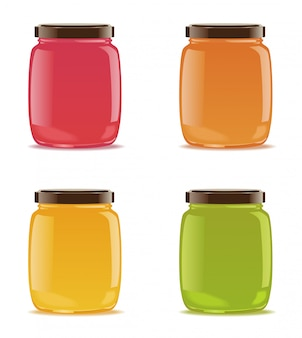 Four glass jars with jam or baby puree.