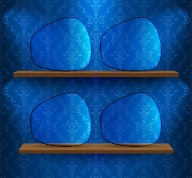 Four glass placeholders