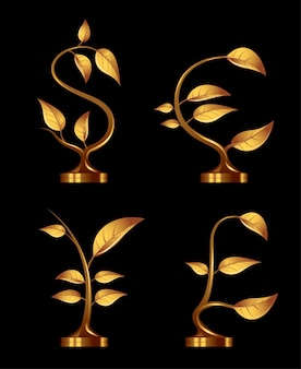 Four golden seedlings in the form of currency symbols