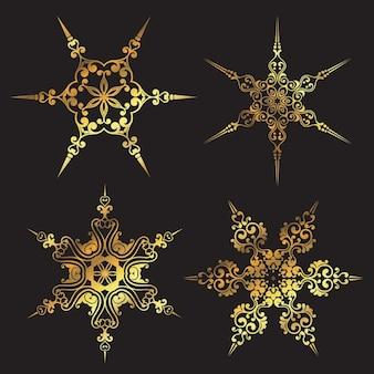 Four golden snowflakes