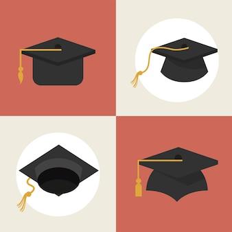 4 개의 졸업 모자 스타일 아이콘