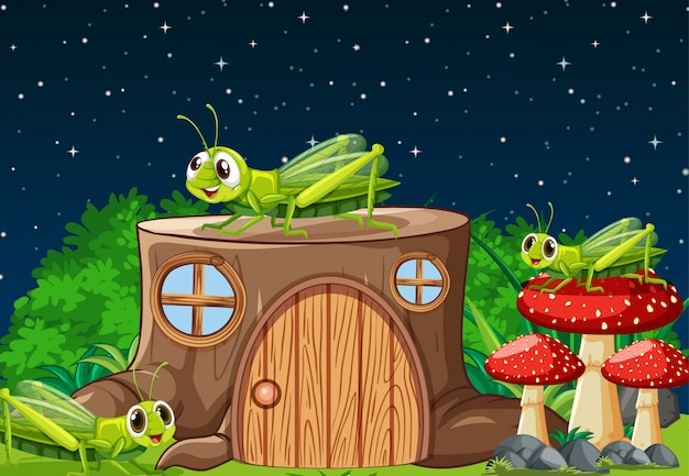 Four grasshoper living in the garden scene at night with stump house