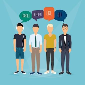 4人の男が通信します。ソーシャルメディアの言葉で吹き出し。フィードバック、レビュー、ディスカッションに関連するコミュニケーションの概念図。