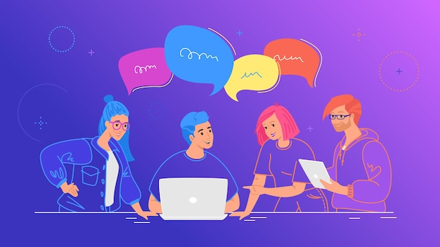 4명이 팀으로 일하고 말풍선을 가지고 이야기합니다. 노트북과 디지털 태블릿을 사용하여 업무용 책상에서 프로젝트에 대해 논의하는 사람들의 플랫 라인 벡터 그림. 그라데이션 배경 팀워크