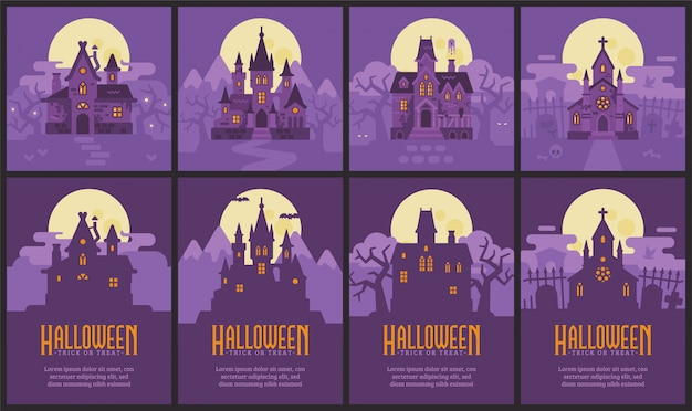 Four halloween houses and flyers. witch hut, vampire castle, haunted house and graveyard chapel
