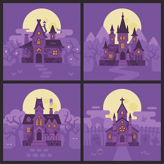 Four halloween houses