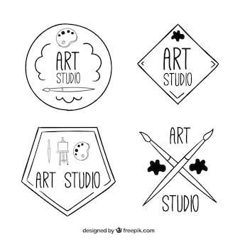 Four hand drawn art logos