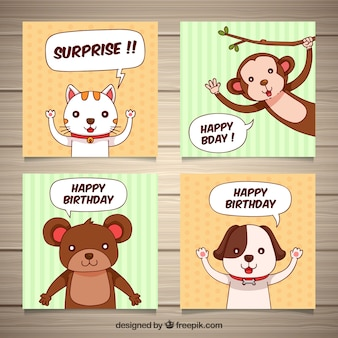 Four hand drawn birthday cards with animals