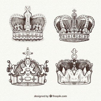 Four hand drawn royalty crowns