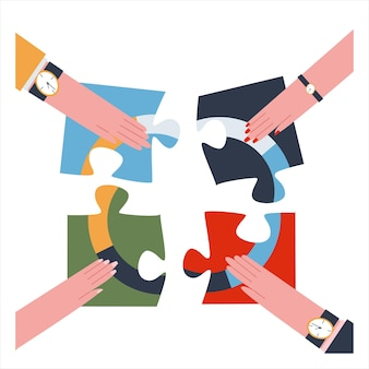 白い背景の上のパズルのピースを組み立てる4つの手チームワークの概念フラットベクトル