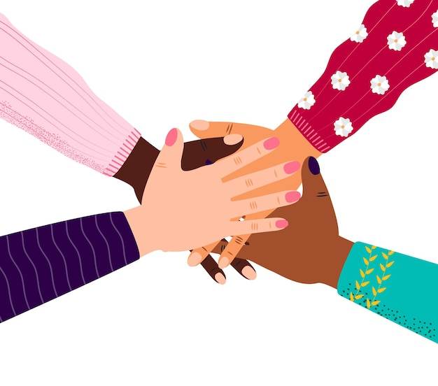 Four hands of diverse human group are putting together
