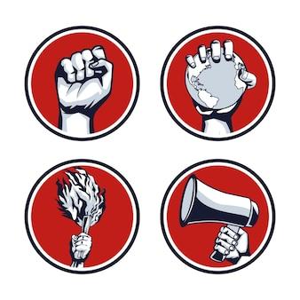 Четыре руки революция протестуя значок