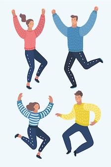 4人の幸せな子供、男の子と女の子、興奮、白い背景のイラストにジャンプします。幸せで陽気な漫画の子供たちが笑って、幸せからジャンプ