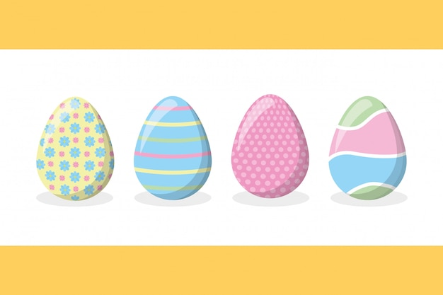 Four happy easter eggs with pastel colors