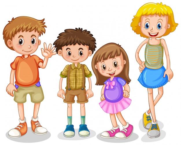 白い背景の上に立っている4人の幸せな子供