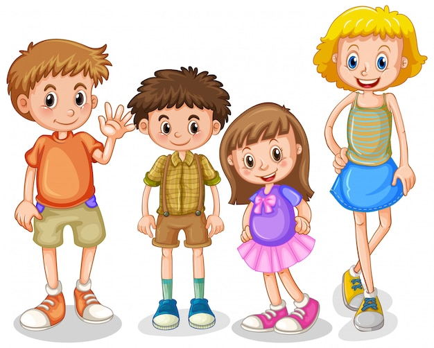 Four happy kids standing on white background