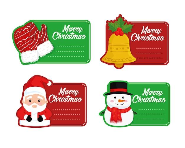 4 개의 행복 메리 크리스마스 카드 일러스트 디자인