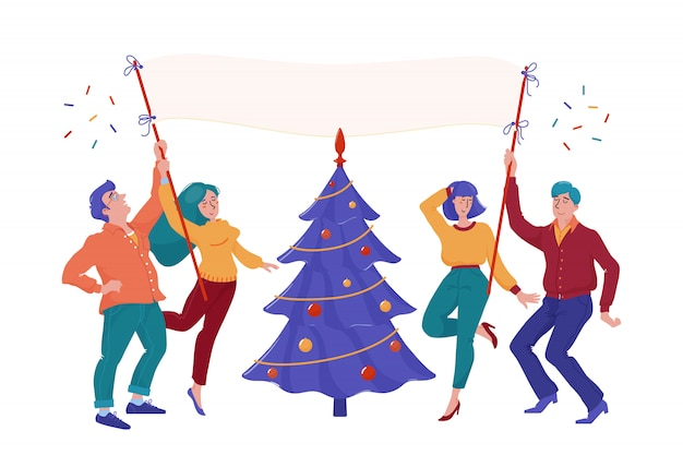 Four happy, smiling people, men and women, holding blank placard, dancing near christmas tree