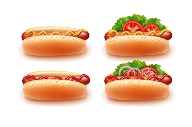 Четыре хот-дога, различные варианты приготовления с кетчупом и горчицей, вид сбоку. изолированные на белом фоне