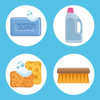 Four housekeeping chores icons