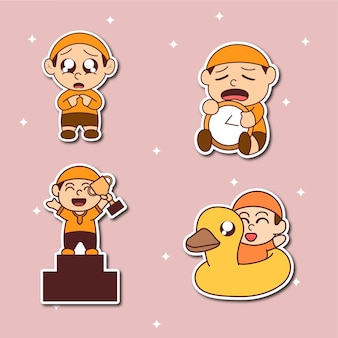Four human cute stickers collection illustration