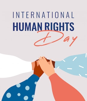Four human hands support each other on the international human rights day card