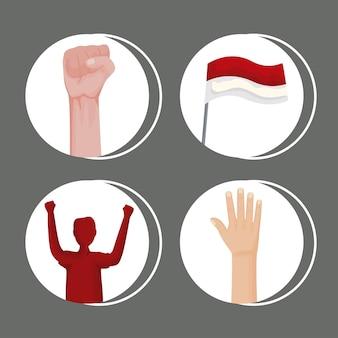 Four indonesia celebration set icons