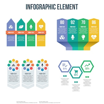 4 개의 infographic 템플릿