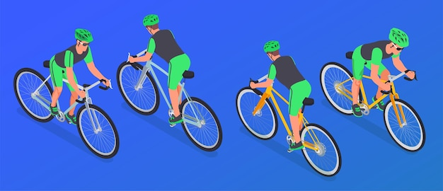 Four isometric cyclists