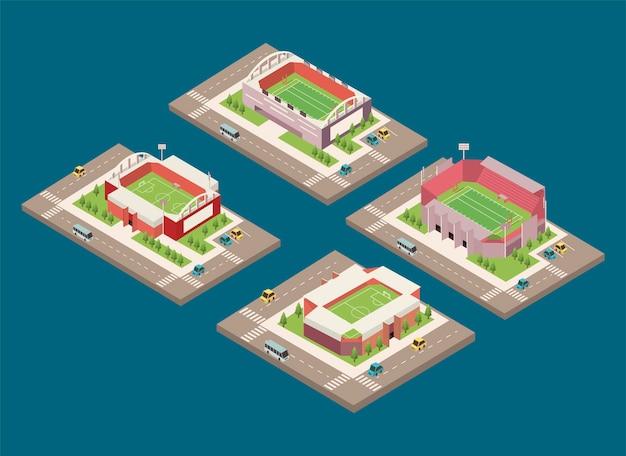 Четыре изометрических стадиона Premium векторы
