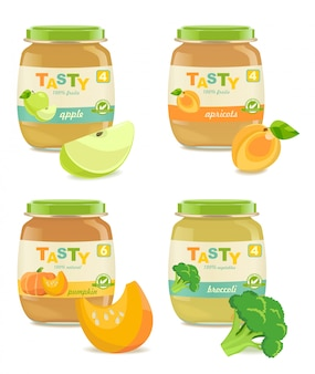 Four jars with different kids puree. retro style.