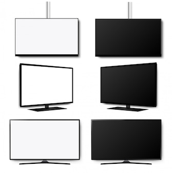 4 kモニターledテレビセット白背景